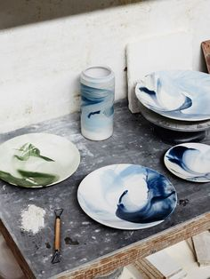 The Serene Series vases and plates, created by Robert Gordon Australia exclusively for The Design Files Open House 2014. The vases we've done only in blue, whilst the plates come in either blue or green colour ways. Photo - Sean Fennessy, production – Lucy Feagins / The Design Files.