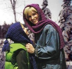 Free Crochet Pattern:  One & Two-ball hooded scarves from Lion Brand.