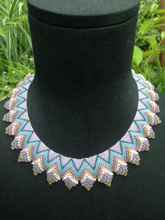 Peyote stitch beaded Cellini Necklace by BeadifulByJill on Etsy