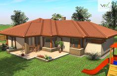 Egyszintes családi ház 169 m2 Bungalow House Plans, Dream House Plans, House Floor Plans, My Dream Home, Dream Houses, Village House Design, Village Houses, Circle House, Family House Plans