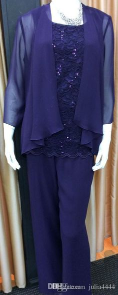 Purple Lace Chiffon Mother Of The Bride Pant Suits 2017 Summer Long Sleeve Beads Cheap Mother Pant Suits Cheap Plus Size wedding party gown