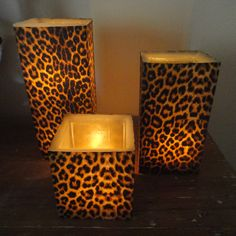 Cheetah Print Candle Holders For The Registration Desk And Walk Ways