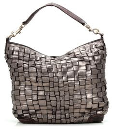 Campomaggi Intrecciata Hobo Leather silver 34 cm - C1385LAVL-2025 - Designer Bags Shop - wardow.com