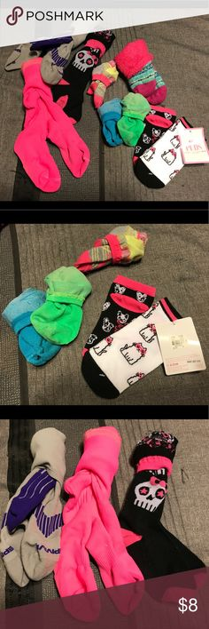 Bundle of 9 Assorted Socks This is a bundle of 9 pair of assorted girl's socks; 2 pairs that are new with tags and 7 pairs that are gently used in excellent with no flaws. There are 3 pairs of knee high socks, 5 pairs of ankle socks, and one pair of fleece socks that are thick, soft, and extremely warm for the wintertime. Assorted Brands Accessories Socks & Tights