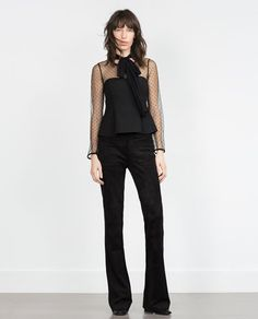 Image 1 of PLUMETIS BLOUSE WITH BOW from Zara