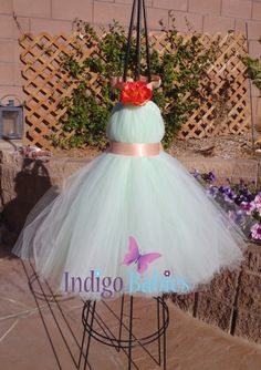 Tutu Dress Flower Girl Dress Mint Green Tulle by indigobabies