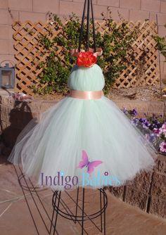 Tutu Dress Flower Girl Dress Mint Green Tulle by indigobabies
