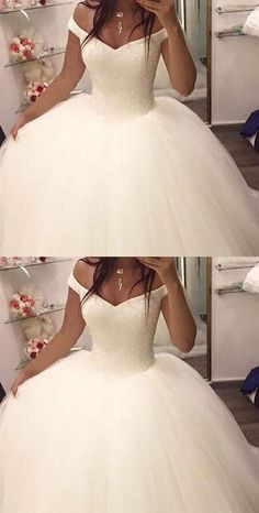 Charming Wedding Dress,Tulle Ball Gown Wedding Dresses,White Bridal Dresses F2168