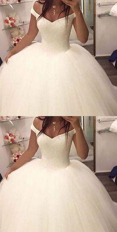 Charming Wedding Dress,Tulle Ball Gown Wedding Dresses,White Bridal