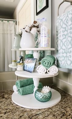 Learn how to make this DIY wood three tier stand to fit right in with your farmhouse decor style! I love the extra bathroom countertop storage it prov. Bathroom Countertop Storage, Small Bathroom Organization, Bathroom Countertops, Diy Bathroom Decor, Diy Home Decor, Bathroom Ideas, Organization Ideas, Bathroom Renovations, Budget Bathroom