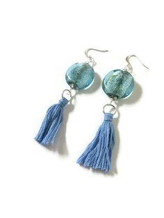 Light Blue Tassel Earrings with Round Glass Beads by JulemiJewelry