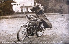 "historywars: "" A clever Australian despatch rider firing a rifle at full speed What a fantastic photo """