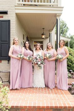 light pink, full length bridesmaid dresses with rustic silk flower bouquets Country Wedding Inspiration, Bridesmaid Inspiration, Wedding Photography Inspiration, Pink Bridesmaid Dresses Short, Wedding Dresses, Wedding Hair, Nj Wedding Venues, Silk Flower Bouquets, Philadelphia Wedding