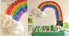 {tutorial}   streamer    rainbow   backdrop   from our st patricks day party    Pin It      per many requests here is the tutorial of how w...