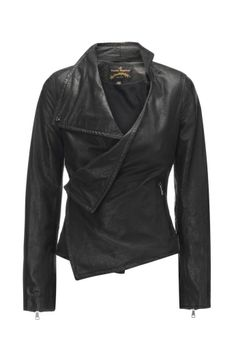 Produced in leather, this softly structured piece comes with a cross-over fastening with both a button and press studded closure. Forming fluid folds to the front, this biker style jacket is finished with zip aspects to the sleeves.
