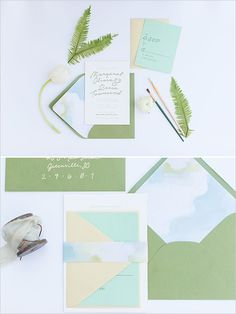 watercolor accent wedding stationery @weddingchicks