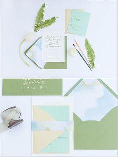 watercolor accent wedding stationery @weddingchicks