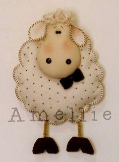 felt sheep, put this design on a onesie or t-shirt. Sheep Crafts, Felt Crafts, Fabric Crafts, Sewing Crafts, Felt Christmas, Christmas Crafts, Felt Patterns, Penny Rugs, Felt Fabric