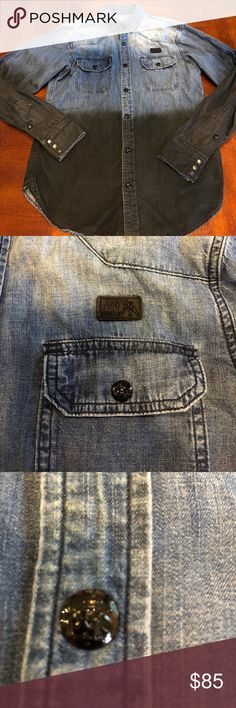 PRPS Denim button up shirt Men's size medium PRPS half black half denim button up shirt. Lots of detail beautiful shirt in excellent condition. May run about a size small PRPS Shirts Casual Button Down Shirts