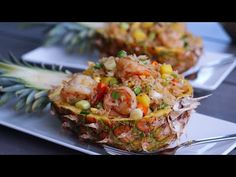 The Best Pineapple Shrimp Fried Rice - YouTube Tasty Dishes, Side Dishes, Yellow Rice Recipes, Pineapple Shrimp, Shrimp Fried Rice, No Cook Meals, Potato Salad, Fries, Cooking
