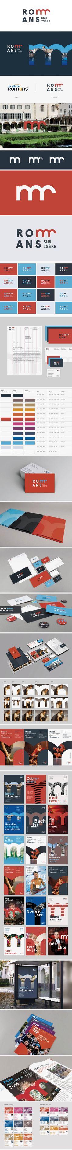 More corporate-designs are collected on: https://pinterest.com/rothenhaeusler/best-of-corporate-design/ · Agency: Grapheine (Paris) · Client: Romans Sur Tsere · Source: https://www.grapheine.com/en/branding-en/a-new-visual-identity-for-romans-sur-isere #branding #identity #corporatedesign