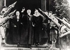 National Bishop Friedrich Coch giving a Hitler greeting in Dresden, 10 December…