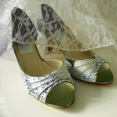 Wedding Shoes  painted albino peacocks Sage white and by norakaren, $225.00