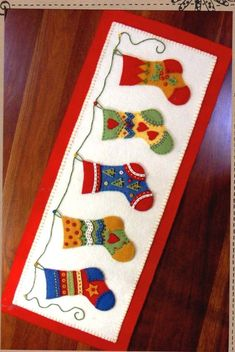 Bird Brain Designs and the Stockings were Hung 327 Christmas Table Runner hand embroidery applique Pattern - finished size 10 in by 24 in Christmas Applique, Felt Christmas Ornaments, Christmas Sewing, Christmas Stockings, Christmas Decorations, Christmas Quilting, Diy Christmas, Christmas Trees, Table Decorations