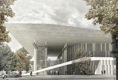 tomas santacruz designs wooden cantilevered roof for tokyo music centre