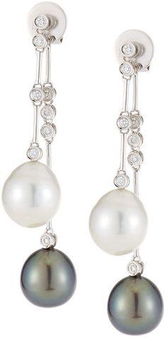 Belpearl 18k Double Pearl & Diamond Dangle Earrings