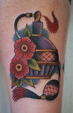 Traditional style perfume bottle Morales Morales m. Pretty Tattoos For Women, Beautiful Tattoos, Badass Tattoos, Body Art Tattoos, Ink Tattoos, Tatoos, Perfume Bottle Tattoo, Perfume Bottles, Samoan Patterns