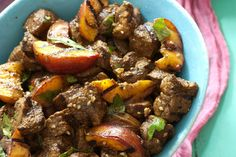 Grilled Lamb Kebabs w/ Smoky Peaches | NYTimes Cooking