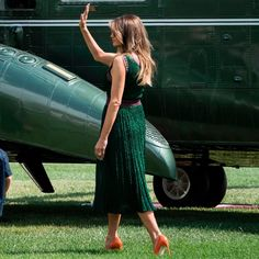 The First Lady, Melania Trump, donned a bold, knit dress for a late summer trip on a somber weekend.