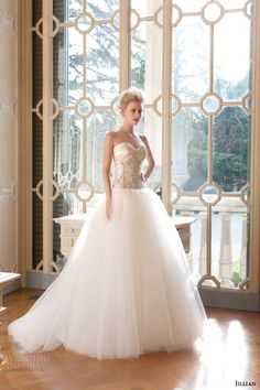jillian sposa bridal 2015 strapless sweetheart ball gown heavily embellished bodice tulle skirt