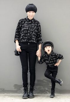 mommy and daughter in matching outfits! Harajuku, Fashion Kids, Fashion Black, Fashion Fashion, Mom And Baby, Mommy And Me, Brenda Garcia, Dr. Martens, Mom Daughter
