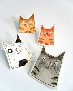 collection of hand made illustrated  cat brooches