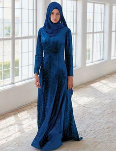 Kayra Desenli Kadife Elbise Petrol A5 23058 | Kayra Online
