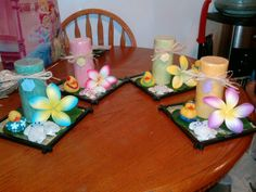 luau baby shower- candle centerpieces