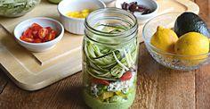 Zucchini Pasta Salad With Avocado Spinach Dressing #masonjarmeals #masonjarrecipes #foodporn
