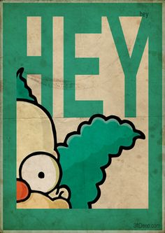 Krusty the Clown Simpsons -Vintage poster- 3ftdeep by 3ftDeep on deviantART