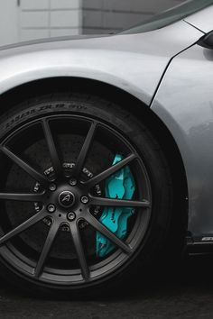 Not a Subie but still damn good looking. McLaren black rims and blue (candy teal) calipers Rims For Cars, Rims And Tires, Wheels And Tires, Car Wheels, Mazda 3, Cabrio Vw, Jetta A4, Caliper Paint, Truck Rims
