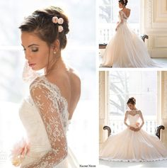 Sheer Lace Long Sleeves Open Back Royal Ball Gown Wedding & Events Dresses Gowns Princess 2014 New Arrival