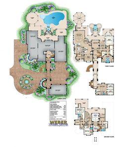 Luxury Floor Plan - Seascape House - 6 bed, 5 full bath, 2 half bath, 6 car, 8364 sq ft