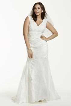 Off The Shoulder Trumpet Gown with Ruched Bodice Style at David s Bridal 7188e48ade21