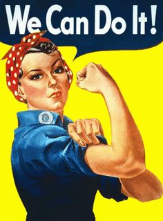 "A finely restored version of J. Howard Miller's iconic Rosie the Riveter poster. Rosie proclaims, ""We Can Do It!"" Rosie the Riveter came to represent women working the production line on the home front during WWII. World War Two Rosie The Riveter Poster, Rosie Riveter, Rosie The Riveter Costume, School Counseling, Women In History, History Images, Up Girl, Girl Boss, Glam Girl"