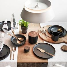 Stoneware base, acacia wood lid with silicone seal. Stoneware Container Care Instructions: Dishwasher and microwave safe. Asian Dinnerware, Black Dinnerware, Modern Dinnerware, Dinnerware Sets, Dining Plates, Dining Ware, Dinner Sets, Dinner Table, Office Interior Design