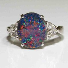 Black Opal Engagement Rings - Wedding and Bridal Inspiration Vintage Opal Engagement Ring, Dream Engagement Rings, Vintage Diamond Rings, Nontraditional Engagement Rings, Gothic Wedding Rings, Opal Wedding Rings, Wedding Jewelry, Bridal Jewellery, Gold Jewellery