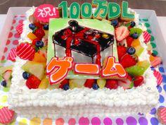 ゲームアプリの100万DL記念ケーキ gamegift.jp Big Cakes, Birthday Cake, Desserts, Food, Tailgate Desserts, Deserts, Birthday Cakes, Essen, Postres