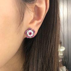 Ruby diamond earrings that can be wear in three ways