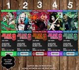 Suicide Squad - Characters - Movie Birthday Ticket Invitation